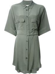 Equipment Belted Shirt Dress Green