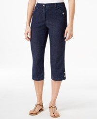 Karen Scott Petite Button Cuff Dark Denim Wash Capri Jeans Only At Macy's