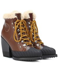 Chloe Rylee Leather And Shearling Boots Brown