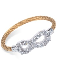 Charriol Women's Laetitia White Topaz Accent Infinity Two Tone Pvd Stainless Steel Cable Ring Two Tone