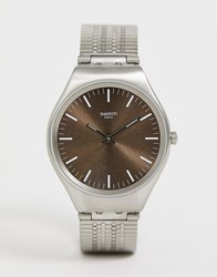 Swatch Syxg101 Skinboot Mesh Watch Silver