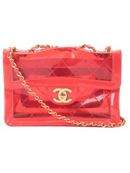 Chanel Vintage Jumbo Quilted Chain Shoulder Strap Red