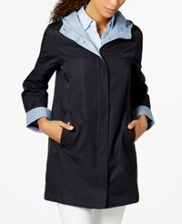 Jones New York Petite Colorblocked Raincoat Midnight Blue Sky Blue