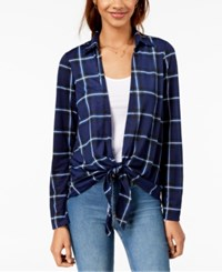 Almost Famous Juniors' Plaid Layered Look Top Navy