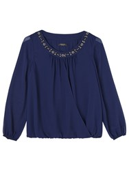 Precis Petite Stacey Beaded Neck Blouse Navy
