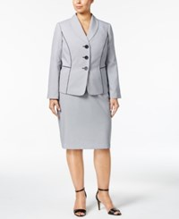 Le Suit Plus Size Seersucker Skirt Navy Multi
