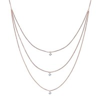 The Alkemistry 18Ct Rose Gold Triple Chain Drilled Diamond Necklace
