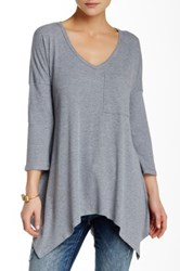 Pink Owl Ribbed V Neck Tee Gray