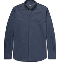 Berluti Knitted Collar Cotton Shirt Blue