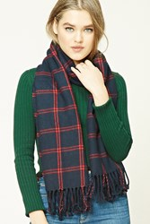 Forever 21 Flannel Plaid Tasseled Scarf Navy Red