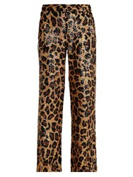 Ashish Leopard Sequin Embellished Cotton Trousers Brown