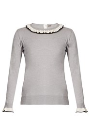 Adam By Adam Lippes Ruffle Trimmed Wool Sweater Grey