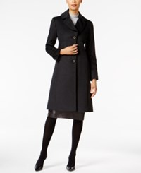 Jones New York Notch Collar Walker Coat Charcoal