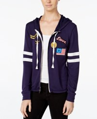 Miss Chievous Juniors' Zip Up Hoodie With Patches Navy Seal Bright White