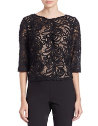 Marina Sequined Lace Crop Top Black Nude