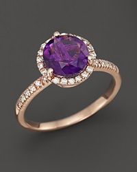 Bloomingdale's Amethyst And Diamond Halo Ring In 14K Rose Gold Purple Rose
