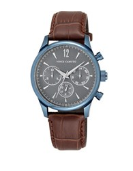 Vince Camuto Analog Asia Stainless Steel Genuine Leather Strap Watch Brown