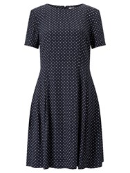 John Lewis Spot Fit And Flare Dress Navy