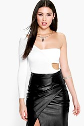 Boohoo One Sleeve Cut Out Bodycon Top White