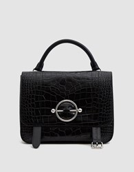 J.W.Anderson Disc Croc Embossed Satchel In Black