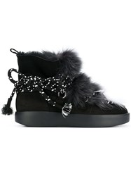 Grey Mer Furry Ankle Boots Black
