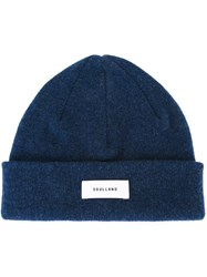 Soulland Logo Patch Beanie Hat Blue