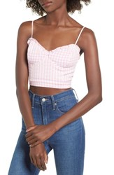 Afrm Tulip Crop Top Pink Plaid
