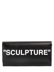 Off White Printed Leather Wallet Black