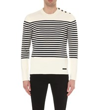 Burberry Breton Wool And Cotton Blend Jumper White Navy
