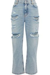 Dolce And Gabbana Embellished Distressed Mid Rise Straight Leg Jeans Blue