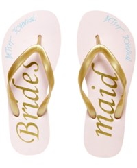 Blue By Betsey Johnson Amy Bridal Flip Flops Women's Shoes Pink Gold