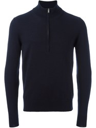 Maison Martin Margiela Leather Elbow Patch Jumper Blue