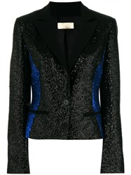 Elie Saab Glittered Colour Block Blazer Black