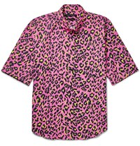 Marc Jacobs Lenny Slim Fit Button Down Collar Leopard Print Cotton Shirt Pink