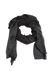 Cutuli Cult Silk Scarf W Leather Details Black