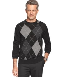 Tricots St Raphael Sweater Crew Neck Fine Gauge Exploded Argyle Sweater Black