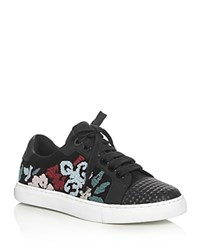Rebecca Minkoff Bleecker Embroidered Lace Up Sneakers Black Multi