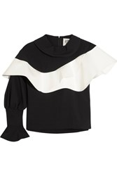 A.W.A.K.E. Ruffled Faux Leather Trimmed Crepe Top Black