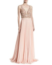 Jovani Sleeveless Gown W Beaded Bodice And Pleated Skirt Blush