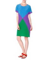 Tomas Maier Colorblock Silk Crepe Tunic Dress Ocean Violet Gras