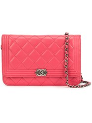 Chanel Vintage Quilted Wallet Chain Red