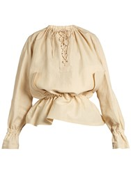 J.W.Anderson Oversized Lace Up Sateen Blouse Beige