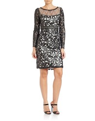Sue Wong Embellished Lace Sheath Black White