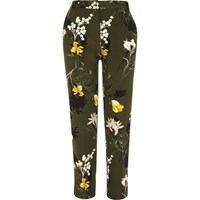 River Island Womens Khaki Floral Tapered Slim Fit Trousers