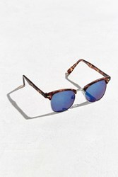 Urban Outfitters Classic Half Frame Mirrored Sunglasses Brown