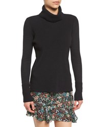 Veronica Beard Asa Ribbed Cashmere Turtleneck Sweater Navy Black