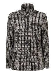 Eastex Funnel Neck Jacquard Coat Multi Coloured Multi Coloured