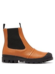 Loewe Tread Sole Leather Ankle Boots Tan