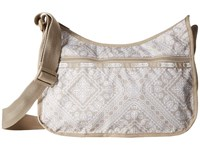 Le Sport Sac Classic Hobo Bag Bandana Lace Khaki Cross Body Handbags White