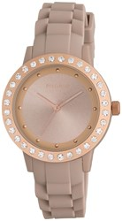 Pilgrim Rose Gold Plated Nude Silicon Watch Metallic